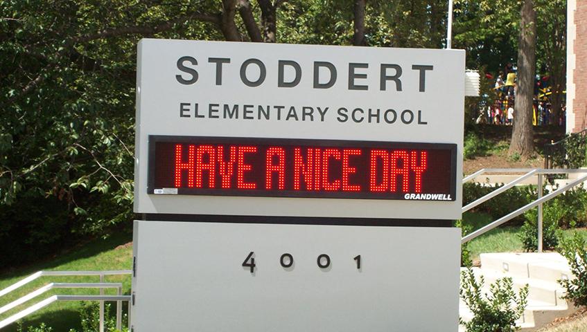 Stoddert Elementary School Exterior Digital Sign