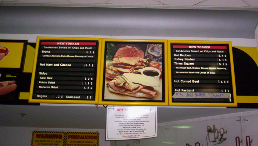 Interior Menu Board