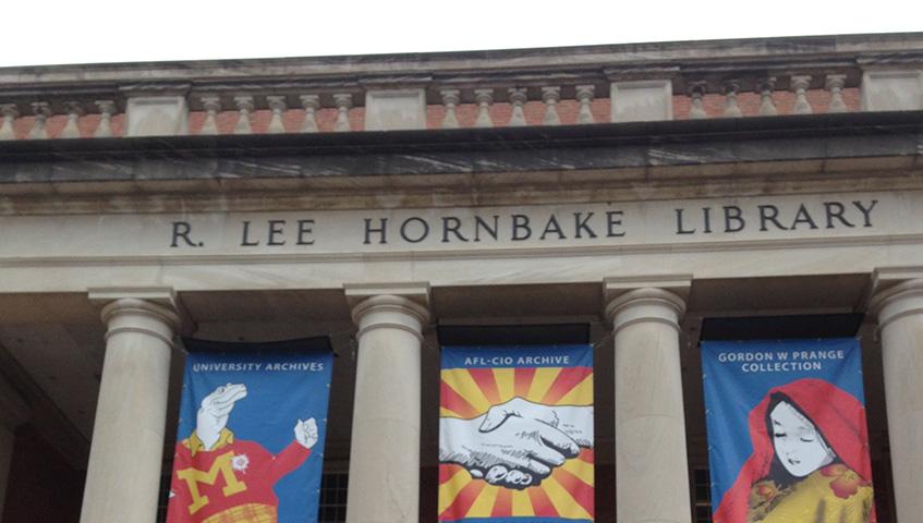 LEE HORNBAKE LIBRARY (UNIVERSITY OF MARYLAND) BANNER SIGNS