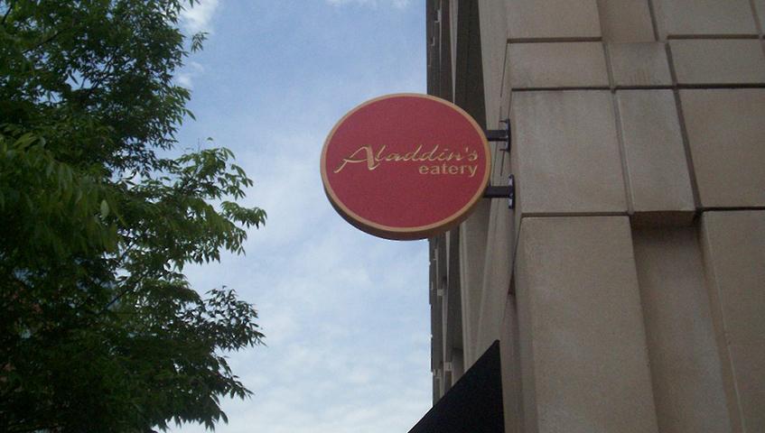 Aladdin's Eatery Exterior Blade Sign