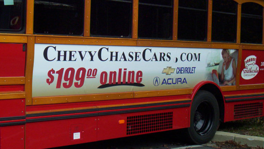 Chevy Chase Cars Bus Ad Vehicle Graphics