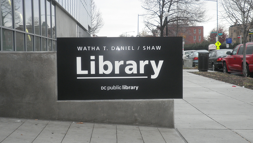 Watha T. Daniel Library Exterior Sign Cabinet