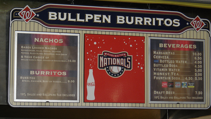 Nats Stadium Interior Menu Board
