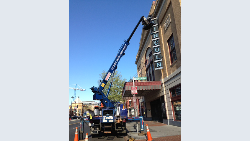 Licoln Theater Exterior Blade Sign Installation